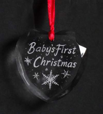 Christmas tree decoration babys first christmas heart for Babys first christmas decoration