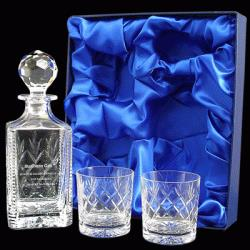 24% Lead Crystal Panelled Decanter set
