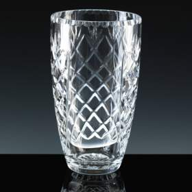 19cm  Barrell Vase 'cut' with panel for engraving
