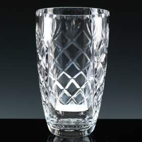 23cm Lead Crystal 'Cut' Barrell Vase with panel for engraving