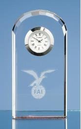 Bevelled Arch Clock - Optical Crystal - 10cm