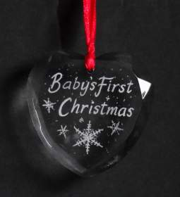 Christmas Tree decoration  - Babys First Christmas - heart