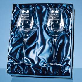 Pair Diamante Crystal Goblets with spiral design cutting
