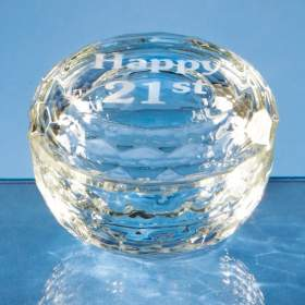 Optical Crystal Facet Round Trinket Box