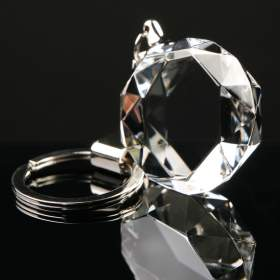 Optical crystal round keyring