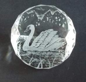 Optical Crystal paperweight - Swan