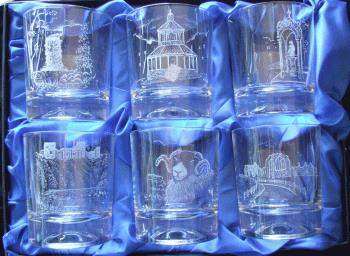 Set of 6 whisky glasses - Teesdale scenes